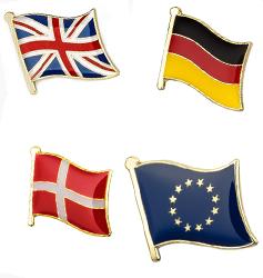 Emaljpins, flaggor
